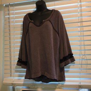 Free People purple crotchet bell sleeve sweater M